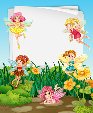 fictional character: Fairies flying in the garden and blank banner Illustration