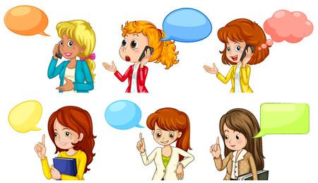 Mujer de negocios hablando por teléfono con las burbujas del discurso Foto de archivo - 38108126