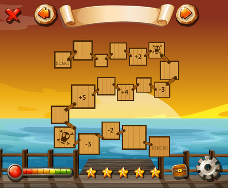game graphics: Game template with ocean view and sunset