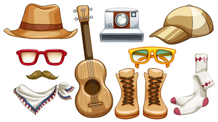 Different hipster items for men Vector