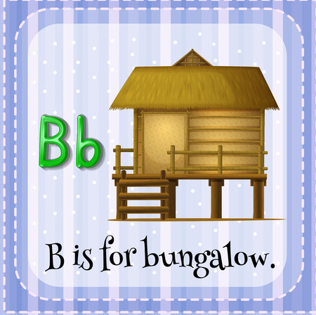 bungalow: Flashcard letter B is for bungalow Illustration
