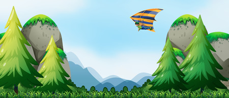 hang gliding: Man doing hang-gliding over the mountains Illustration