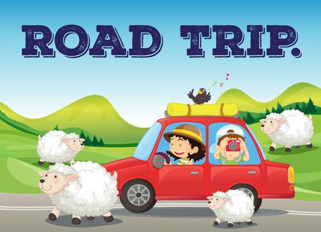 automÓvil caricatura: Viaje por carretera en el campo con la granja y ovejas fondo Vectores