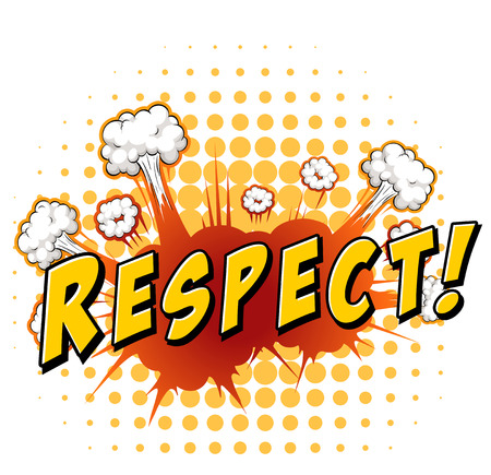 respect: Word respect with explosion background