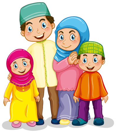 happy people white background: Happy muslim family in traditional costume