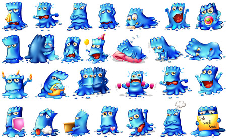 Monsters in different actions and expressing feeling Vector