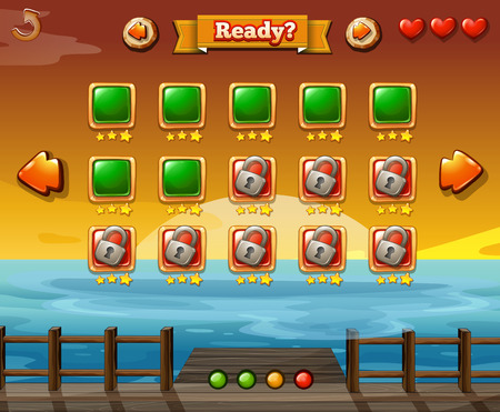 game graphics: Game template with ocean at sunset background