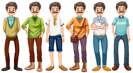 man clothing: Old man wearing different costume