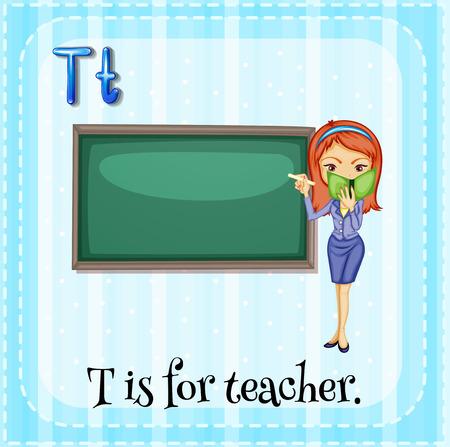 Flashcard letter T is for teacher Vector