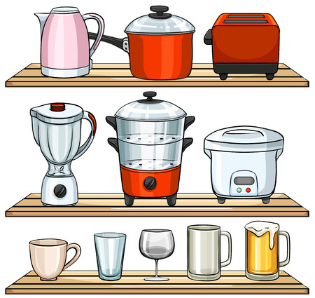 double boiler: Different kind of kitchen appliances Illustration