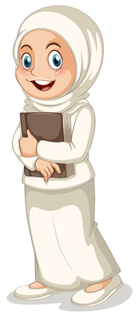 beautiful girl cartoon: Close up muslim girl holding a book