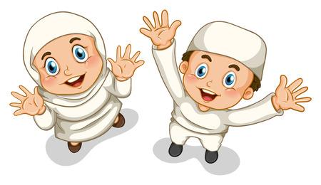 イスラム教徒の少女と少年探して  イラスト・ベクター素材
