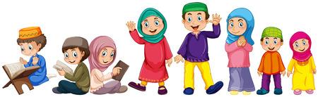 niño orando: Musulmán crecido y niños haciendo cosas Vectores