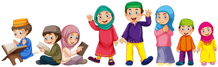 Muslim grown up and children doing things