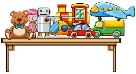 Verschillende soorten speelgoed op de tafel