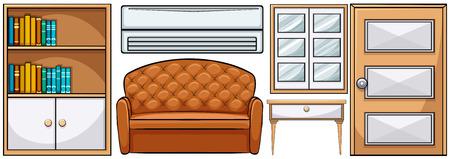 Set van verschillende klassieke meubels