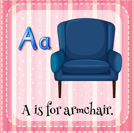 writing chair: Flashcard letter A is for armchair