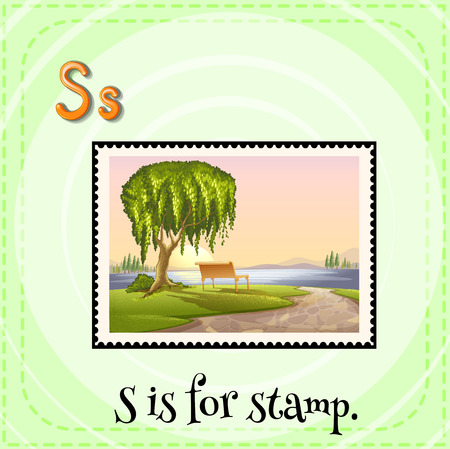 children s: Flashcard letter S is for stamp Illustration