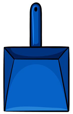 dustpan: Close up simple blue dustpan
