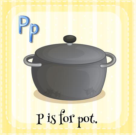 p illustration: Flashcard letter p is for pot
