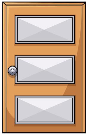 Close up plain wooden door Vector