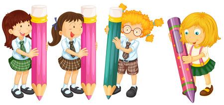 niños escribiendo: Muchos estudiantes con lápices gigantes Vectores