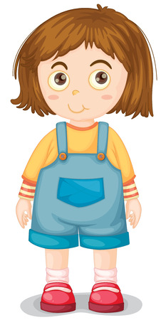 human eye close up: Close up young girl wearing jumpsuit Illustration