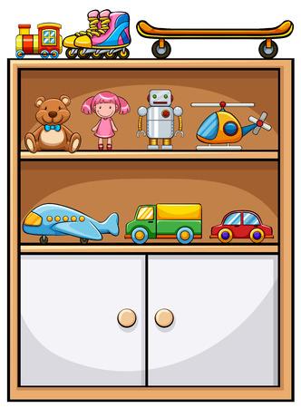Different kind of toys on the shelf Illustration
