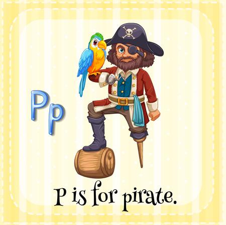 Flashcard Buchstaben P Ist Für Piraten Lizenzfrei Nutzbare