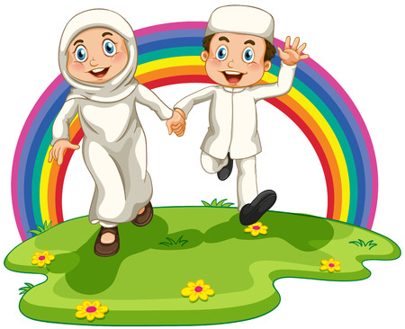 islamic scenery: Muslim couple running in the park