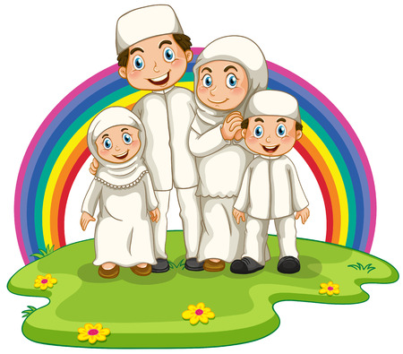 islamic scenery: Muslim family standing in the park Illustration