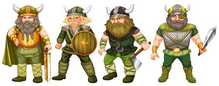 vikings: Vikings in green costume holding weapons Illustration