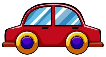 Rode speelgoed auto met gele wielen