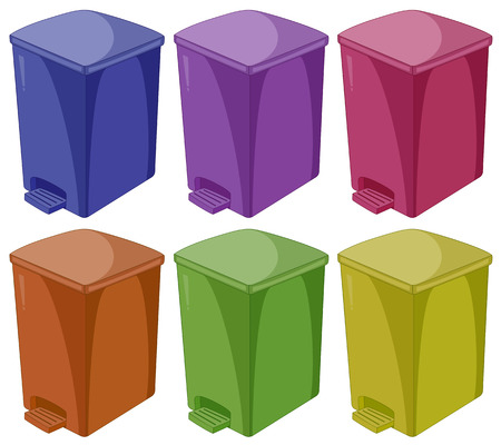 Six different colors of trashcan