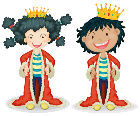 role play: Children dressing up as king Illustration