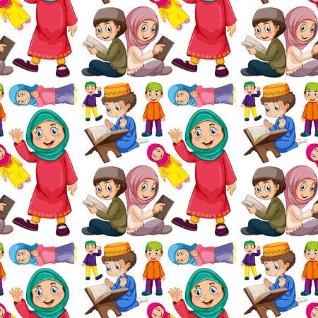 niño orando: Hombre musulmán sin costuras y mujer Vectores