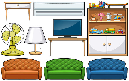 cupboards: Different kind of household appliances Illustration