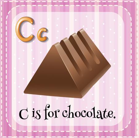 barra de chocolate: Flashcard letra C es para la barra de chocolate Vectores