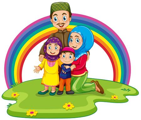 rainbow background: Muslim family with rainbow background Illustration