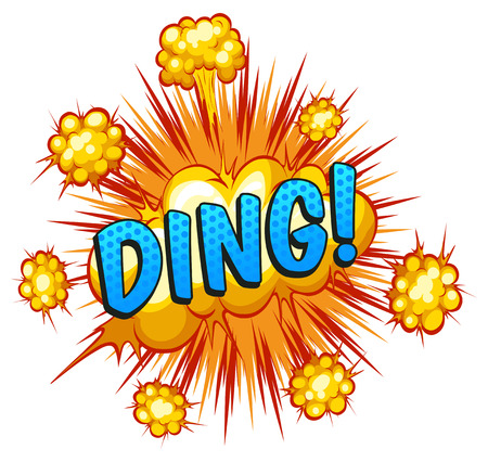 ding: Word ding with explosion background