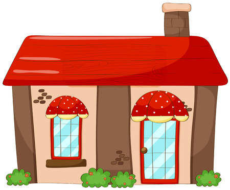 architech: Single house with red roof and chimney Illustration