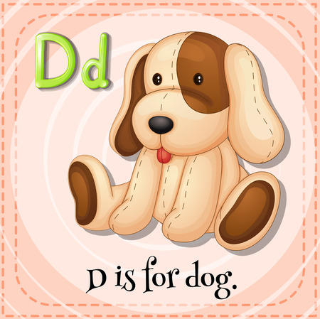 stuffed animal: Flashcard letter D is for dog Illustration