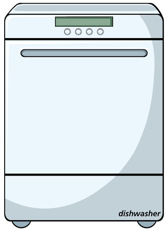 Close up modern white dishwasher Vector