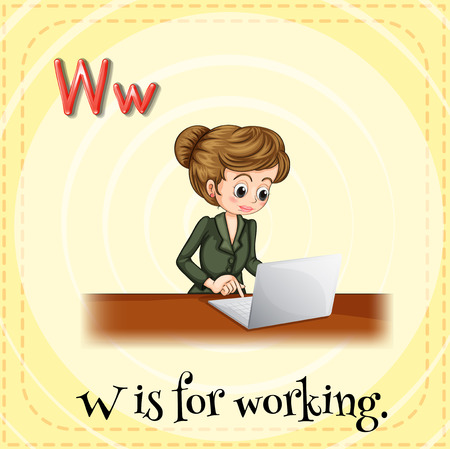 Flashcard letter W is for working Vector