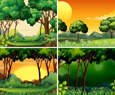 Cuatro escenas de bosque en el día y la noche Ilustración de vector