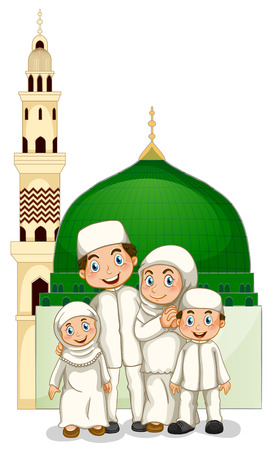 family outside: Muslim family with islamic temple Illustration