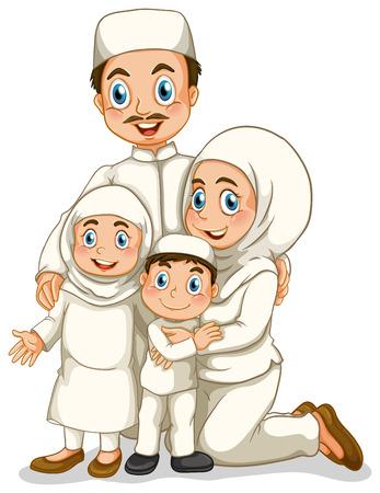 madre e hijo: Familia musulmana con el padre y la madre