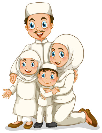 relatives: Muslim family with father and mother