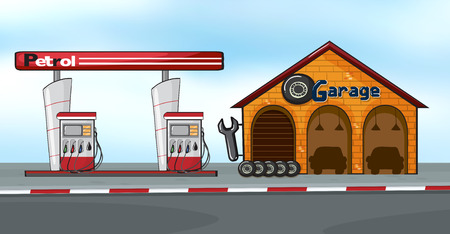 gas station: Gas station next to a garage
