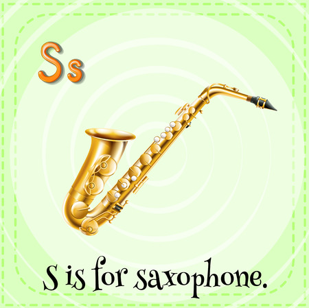 linguistic: Flashcard letter S is for saxophone Illustration